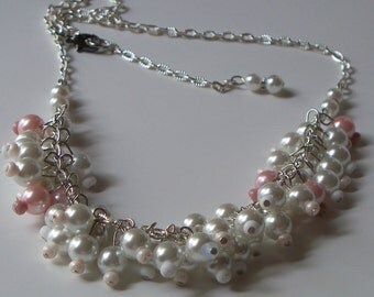 Wedding - Wedding Jewelry - Bridal - Brides Necklace - Glass Pearl Necklace - Pink and White Bridal Necklace