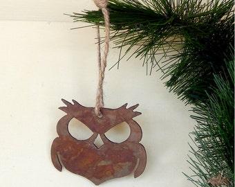 Owl Metal Ornament / Wisecracker Outlaw Owl Ornament by WATTO Distinctive Metal Wear/ Rusty / Rustic / Owls/ Gift for Bird Watcher/ Wise Owl