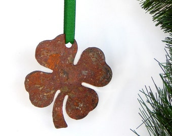 4 Leaf Clover Metal Ornament by WATTO Distinctive Metal Wear/ Good Luck/ Christmas Ornament/ Rustic/Lucky / Clover / Irish