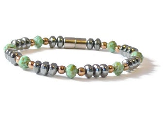Turquoise and Black Magnetic Hematite Therapy Bracelet