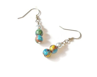 Rainbow Stone and Silver Pearl Hematite Earrings, Magnetic Earrings, Hematite Jewelry