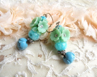 spring flower earrings assemblage blue celluloid rose upcycled vintage jewelry cottage chic