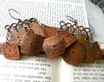 earrings watch face assemblage mismatch rustic brown upcycle
