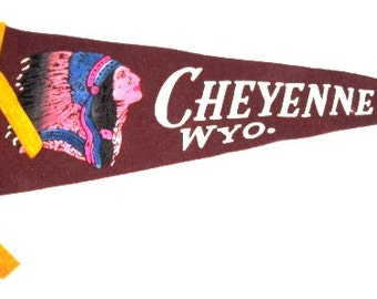 Vintage Pennant, Souvenir, Cheyenne Wyoming Tourist Trip, Burgundy felt, Upcycle Craft Suppy, Indian Chief Headdress, Ethnic Native