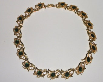 Vintage Gold Tone Necklace with Green Oval and Clear  Crystals.
