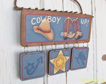 Hand Painted Western Sign | Cowboy Up Lettering | Boots Hat Marshall's Star