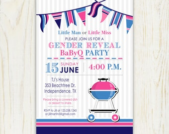 Gender Reveal BBQ invitation barbeque- 5x7 or 4x6 Printable Invitation - digital