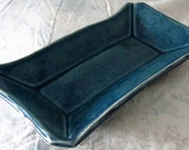 Rectangular Ceramic Tray glazed in Teal