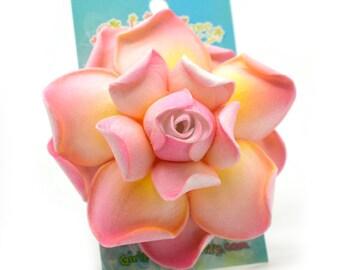 Gardenia Hair Clip, Pink Flower Hair Clip, 3 Inch, Foam Flower, Bridal Hair Clip, Pink Gardenia
