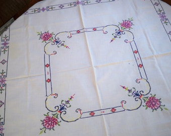 Vintage Dining Table Linens Hand Stitched Table Cloth Topper 1950's