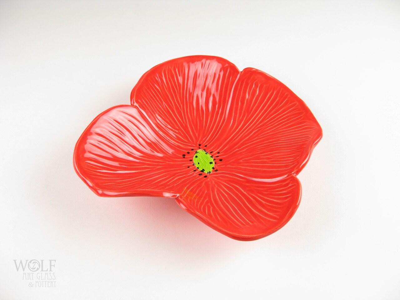 Red Poppy Wall Decor : Ceramic wall art tomato red poppy flower home decor