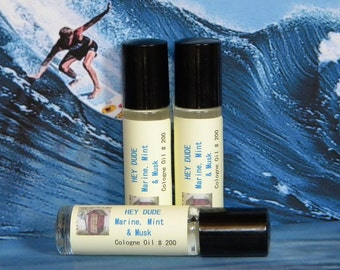 HEY DUDE Mens Cologne Marine, Mint & Musk - Top Selling Mens Handmade Cologne - Cool Water Scent