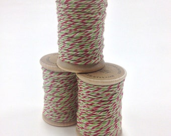 Baker's Twine - 20 Yards - Red and Green - Perfect for Christmas or Holidays - 4 Ply Twine on Wooden Spool