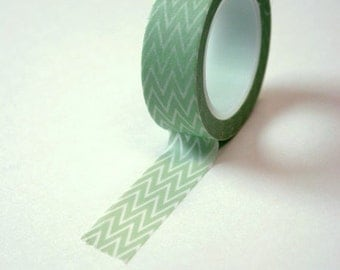 Washi Tape - 15mm - Light Green and White Chevron Pattern - Deco Paper Tape No. 124