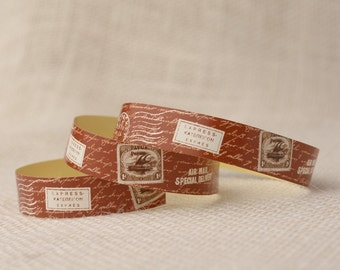 Decorative Paper Tape - Brick and Brown Postage Stamps and Script