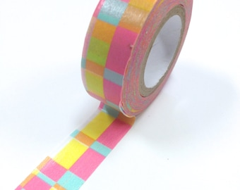 Washi Tape - 15mm - Pastel Random Rectangle  - Deco Paper Tape No. 885