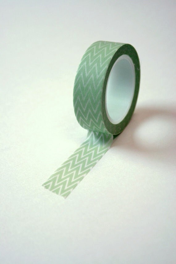 Washi Tape - 15mm - Light Green and White Chevron Pattern - Deco Paper Tape No. 124