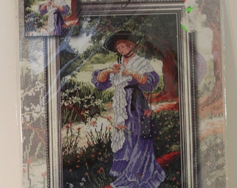 Lady in the Garden VICTORIAN WOMAN Design Works Collection Cross Stitch Kit