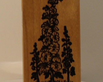 Hollyhocks Flowers PSX Rubber Stamp
