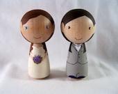 Full Custom Personalized Kokeshi Peg Doll Same Sex Wedding Cake Topper, Bride, Groom, Couple