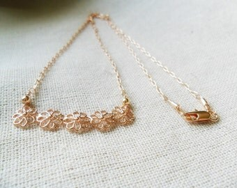 Delicate Rose Gold Necklace / Simple Bar Necklace / Rose Gold Flower Bar / Dainty Chain / For Her / Gift Under 30