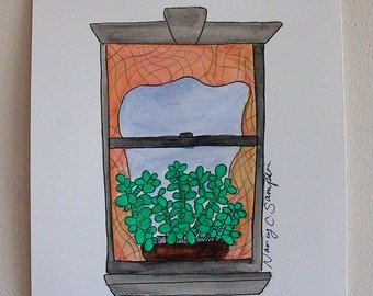 Window Drawing with Plant - Original Art - Ink and Watercolor - NYC Window #42 -  Love, New York