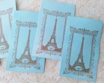 French Inspired Eiffel Tower Hand Dyed Spun Sugar Tags Wedding Set of 100
