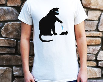 Cat Scientist - Injecting Mouse- T-shirt, Natural - Adult S-XL sizes