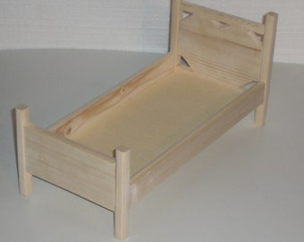 Unfinished Doll Bed for Barbie size doll by Judy Illi Crafts