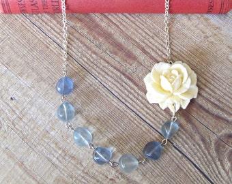 SALE Asymmetrical Necklace Cream Blue Floral Flower Clear Botanical Yavanna Vintage Silver Candyland Range Bridal Bridesmaid Something Blue