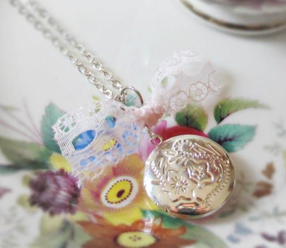 Mr Darcy Locket Necklace. Pink Lace Ribbon. Jane Austen Pride & Prejudice Words Text Repurposed