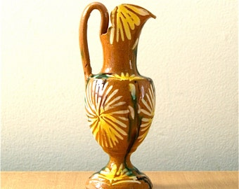 Hand-painted Pottery Pitcher/Vase - Vintage