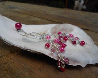 Hot Pink Pearl Passions- Sterling Silver Pearl Clit Clip with Silver Dangly Chains and Crystal and Pearls