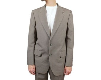 2 Two Piece Pinstripe Suit 38R 32x31 Vintage Light Gray Brown Taupe Blue Stripes Free US Shipping