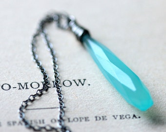 Icicle Necklace - Aqua Blue Chalcedony Wire Wrapped - Long Sterling Silver Necklace - Winter Fashion - Layering Necklace