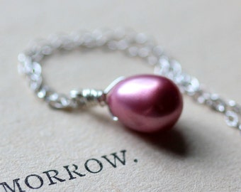 Pink Pearl Necklace on Sterling Silver Chain Summer Fashion June Birthstone Bridesmaid Gift Set