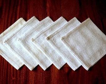 DAMASK Napkins for Tablecloth Replacement Set Vintage Linen Hemstitched Wreaths