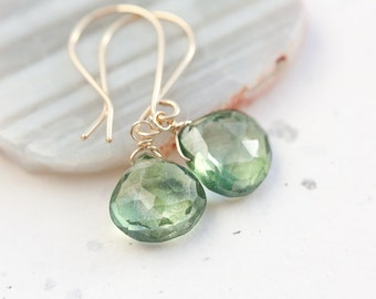 Earrings Mystic Quartz Moss Green Olive Green deep lichen light green gold filled pastel