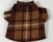 Coffee Brown Plaid Cozy Fleece Male Dog Shirt Clothes Size XXXS through Medium