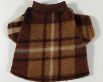 Coffee Brown Plaid Cozy Fleece Male Dog Shirt Clothes Size XXXS through Medium