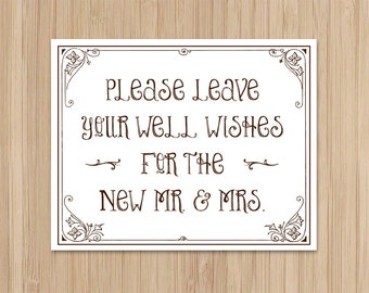 Instant Download - Rustic Wedding - Well Wishes Sign - Wishing Well Sign - Storybook Ending - Garden Wedding - The new Mr and Mrs