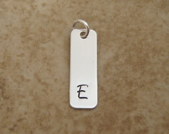 Initial Charm - Rectangle Charm - Letter pendant - Sterling Silver Bar Charm - Engraved Letter charm - Photo NOT actual size