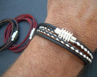 Two Toned Mens Leather Bracelet, Stainless Steel Magnetic Clasp, Mens Gift, Mens Bracelet, Mens Jewelry