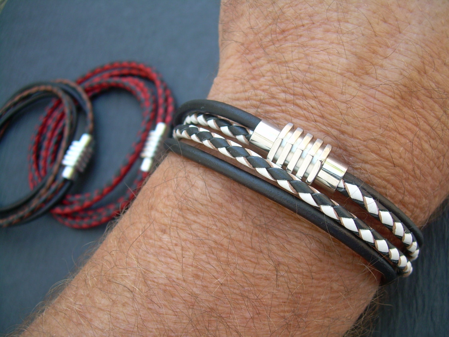 Two Toned Mens Leather Bracelet Stainless Steel Magnetic