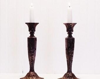 Vintage Silver Plate Candlesticks Ornate Candle holders