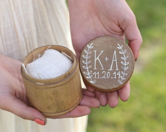 Personalized Ring Bearer Pillow Box Country Barn Wedding Decor (Item Number MHD20121)