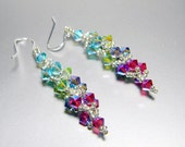 "Ombre Aquamarine and Peridot Swarovski Crystal Earrings Sterling Silver - ""Beautiful Jewel"""