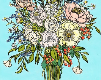 Floral - 8 x 10 Illustrated Print