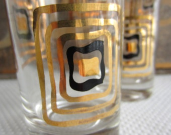 Vintage Mid Century Gold and Black Barware Tall Tumbler Glasses