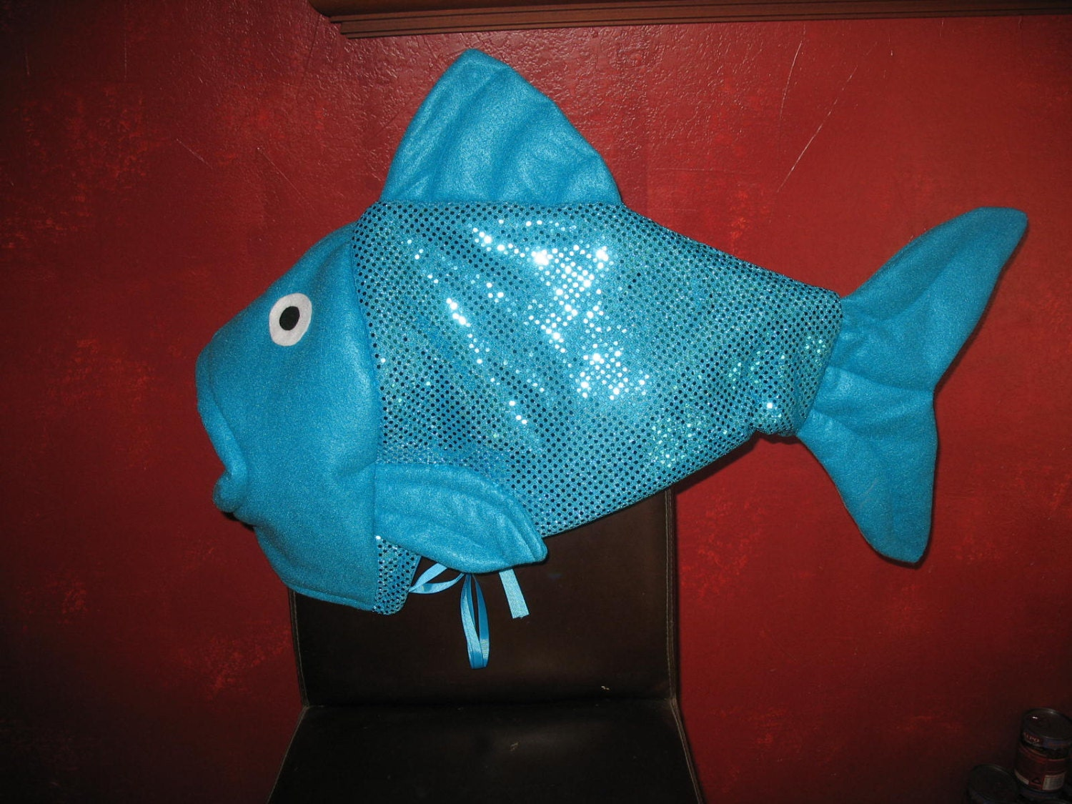 Turquoise sequin fish head costume one size fits all for Fish head costume